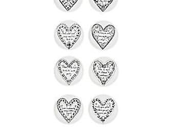 Fornasetti Set Of 8 Love Porcelain Coasters - Wht.&blk