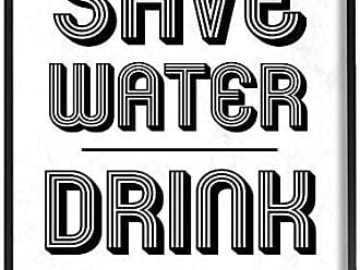 Stupell Industries Save Water Drink Champagne Oversized Framed Giclee Texturized Art, Proudly Made in USA