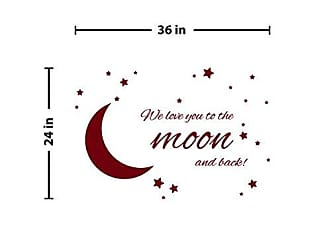 The Decal Guru to The Moon and Back Wall Decal (Burgundy, 24 (H) X 36 (W))