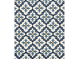 Kas Rugs Harbor Mosaic Indoor/Outdoor Area Rug Ivory / Blue, Size: 2 x 3 ft. - HAR42102X3