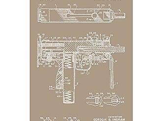 Inked and Screened SP_Milt_3,651,736_KR_17_W MAC 11 SMG-G. Ingram et al-1969 Print, 11 x 17 11 x 17 Kraft - White Ink