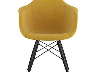 NyeKoncept 332003EW3 Mid Century Dowel Arm Chair, Papaya Yellow