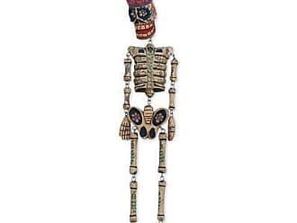Novica Wood wall sculpture, Dancing Floral Skeleton