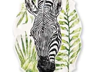Vietri Into the Jungle Zebra Scallop Large Oval Platter