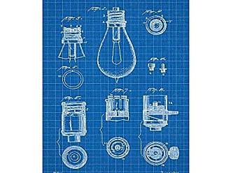 Inked and Screened SP_ELEC_438,310_BG_17_W Lamp Base Silk Screen Print, 11 x 17 Blue Grid - White Ink