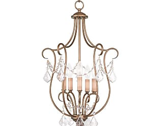 Livex Lighting 6436-LQ Chesterfield 5 Light Pendant Antique Gold Leaf