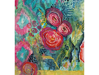 West of the Wind Ikat Poppies Outdoor Canvas Wall Art - OU-80637