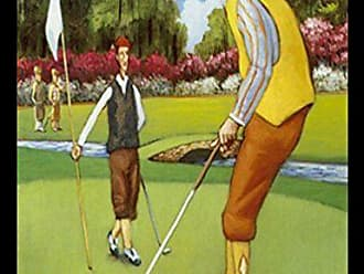 Buyartforless Buyartforless Framed Putting for Birdie by David Morocco 18x24 Art Print Poster Abstract Figurative Sports Poster Golfing Golfer Putting on The Green Yellow Socks and Vest Orange Pants