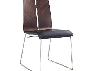 Whiteline Lauren Leatherette Dining Chair with Brushed Nickel Frame - Set of 2 Natural Walnut / Black - DC1191-WLT-BLK