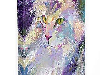 Stupell Industries The Stupell Home Décor Collection Brightly Colored Rainbow Purple Painted Cat Portrait Stretched Canvas Wall Art, 30 x 40, Multi