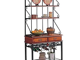 Coaster 2-Drawer Bakers Rack with Wine Rack Tobacco
