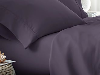 Full ienjoy Home Dobby 4 Piece Home Collection Premium Embossed Stripe Design Bed Sheet Set Purple