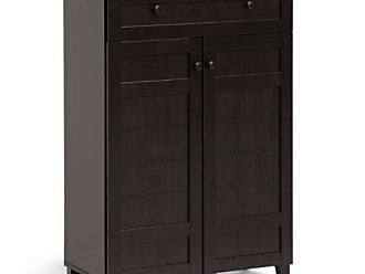 Whole Interiors Baxton Studio Glidden Wood Modern Shoe Cabinet Tall Dark Brown