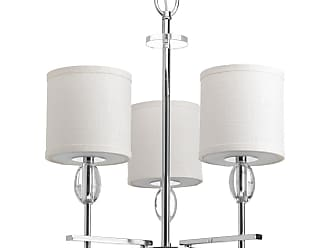 PROGRESS Status Polished Chrome 3-Lt. chandelier with K9 glass accents. with White fabric shades