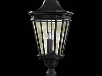 Feiss OL5408BK Cotswold Lane Outdoor Lantern in Black finish with Clear beveled glass shade