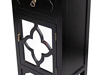 Heather Ann Creations Standing Single Drawer Distressed Storage Cabinet, 30 x 18, Black