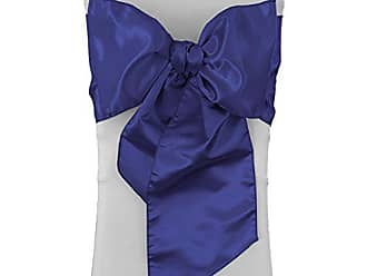 LA Linen Pack-10 Bridal Satin Chair Bows Sashes 8 by 108-Inch, Royal Blue