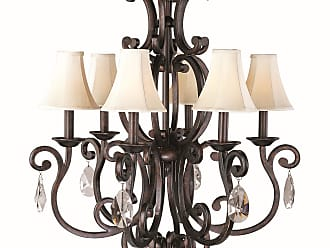 Maxim Lighting Richmond 6-Light Chandelier with Crystals and Shades in Colonial Umber