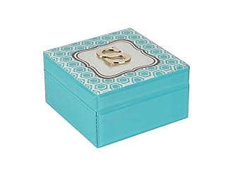 The Jay Companies American Atelier Monogram Hexagon Letter S Jewelry Box-Blue