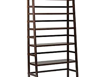 Simpli Home Simpli Home AXSS008KDW Acadian Solid Wood 72 inch x 36 inch Rustic Wide Ladder Shelf Bookcase in Tobacco Brown