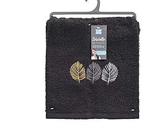 douceur dint/érieur serviette invite 30x50 cm eponge brodee fougerys noir