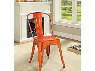 Benzara BM185383 Metal Dining Side Chairs, Set of Two, Orange