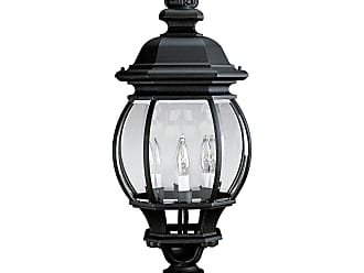 PROGRESS P5401-31 Four-light post lantern in Textured Black finish with clear beveled glass