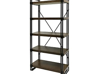 StyleCraft Industrial Design Mahogany Bookcase - Dark Gun Metal - SF2134DS