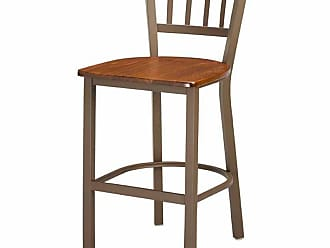 Regal Jailhouse 26 in. Metal Counter Stool with Wood Seat Mahogany - 1309W-26-ANODIZED NICKEL- MAHOGANY