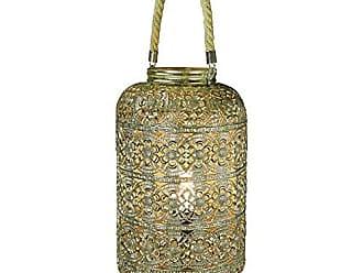 Benzara BM170681 Dazzling Metal Lantern with Rope Handle, Gold