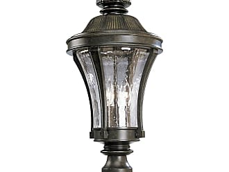PROGRESS P5438-77 Three-light post lantern in Forged Bronze finish with water seeded glass