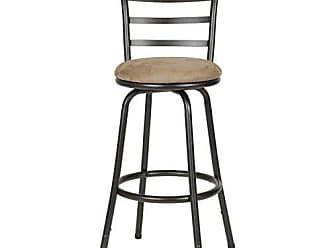 Round Hill Furniture Round Seat Bar/Counter Height Adjustable Metal Bar Stool, Metallic