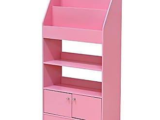 Furinno FR16119PK Kidkanac Magazine/Bookshelf with Toy Storage Cabinet, Pink