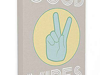 Stupell Industries The Stupell Home Décor Collection Good Vibes Peace Hand Oversized Stretched Canvas Wall Art, 24 x 30, Green