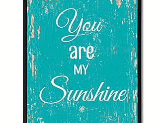 Spot Color Art SpotColorArt You are My Sunshine Framed Canvas Art 13 x 17 Aqua