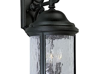 PROGRESS P5650-31 Three-light wall lantern in Textured Black finish with water seeded glass