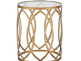 Madison Park MP120-0221 Arlo Accent Glass Top Hollow Round Small, Metal Side Geometric Pattern, Modern Style End Tables for Living Room, Gold