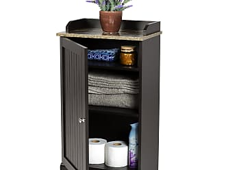 Best Choice Products Modern Contemporary Bathroom Floor Storage Organizer Cabinet w/ 3 Shelves, Versatile Door - Brown