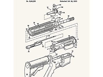 Inked and Screened SP_Milt_8,561,335_TW_24_K Firearm and Hand Guard-M. Brown-2013 Print, 18 x 24 True White - Black Ink