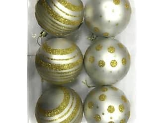 Queens of Christmas WL-ORN-6PK-LD-GO White Ball Ornament with Gold Dot Line Design (Pack of 6)
