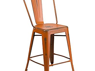 Flash Furniture ET-3534-24-OR-GG High Metal Indoor-Outdoor Counter Height Stool with Back, 24/1 Pack, Distressed Orange
