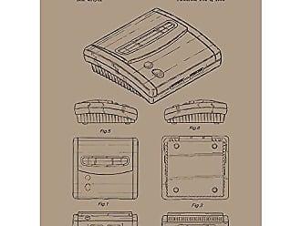 Inked and Screened SP_VIDG_407,761_KR_24_K Video Games Super Nintendo SNES 2 System Print, Kraft-Black Ink, 18 x 24
