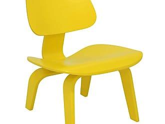 Rivatti Poltrona Cadeira Eames Lounge LCW Wood Amarela