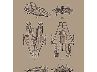 Inked and Screened Sci-Fi and Fantasy Star Wars Vehicles: A-Wing Fighter Print, Kraft - Black Ink