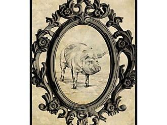 Ptm Images Framed Pig Framed Canvas Wall Art Beige / Black - 9-115623