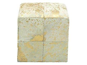 Deco 79 95947 Cube Metallic Gold & White Real Animal Hide Leather Ottoman, 16 x 16