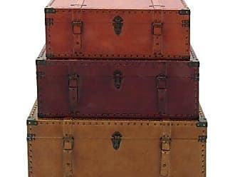 Deco 79 56670 Large Brown, Burgundy, Tan Leather & Wood Storage Trunks with Studs & Buckles   Set of 3