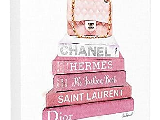 Stupell Industries The Stupell Home Decor Collection Pink Book Stack Fashion Handbag Stretched Canvas Wall Art, 30 x 30, Multi-Color