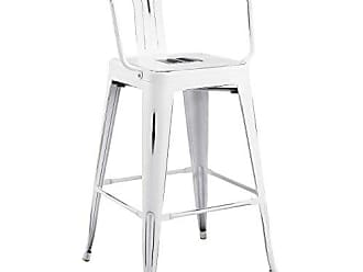 ModWay Modway Promenade Modern Aluminum Bistro Bar Stool With Arms in White