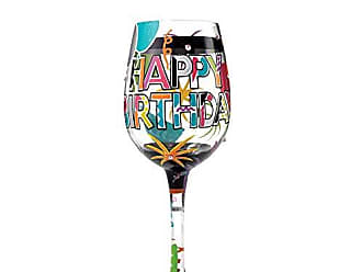 Enesco Designs by Lolita Another Birthday Hand-painted Artisan Wine Glass, 15 oz